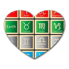 Set Of The Twelve Signs Of The Zodiac Astrology Birth Symbols Heart Mousepads by Amaryn4rt