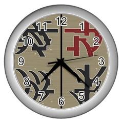 Xia Script On Gray Background Wall Clocks (silver)  by Amaryn4rt