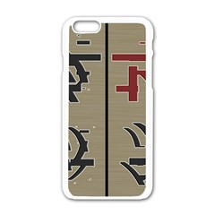 Xia Script On Gray Background Apple Iphone 6/6s White Enamel Case by Amaryn4rt