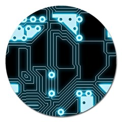 A Completely Seamless Background Design Circuitry Magnet 5  (round) by Amaryn4rt