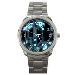 A Completely Seamless Background Design Circuitry Sport Metal Watch by Amaryn4rt