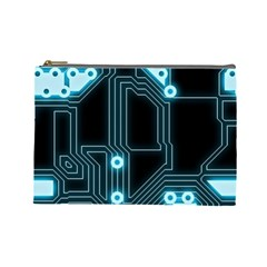 A Completely Seamless Background Design Circuitry Cosmetic Bag (large)