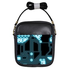 A Completely Seamless Background Design Circuitry Girls Sling Bags by Amaryn4rt