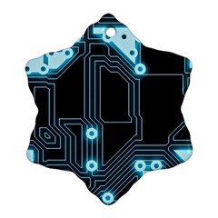 A Completely Seamless Background Design Circuitry Snowflake Ornament (two Sides) by Amaryn4rt