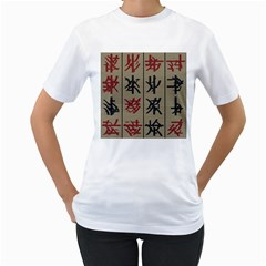 Ancient Chinese Secrets Characters Women s T Shirt (white) (two Sided) by Amaryn4rt