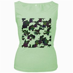 Many Cats Silhouettes Texture Women s Green Tank Top by Amaryn4rt