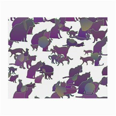 Many Cats Silhouettes Texture Small Glasses Cloth (2 Side) by Amaryn4rt