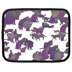 Many Cats Silhouettes Texture Netbook Case (xxl)  by Amaryn4rt