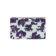 Many Cats Silhouettes Texture Cosmetic Bag (small)  by Amaryn4rt