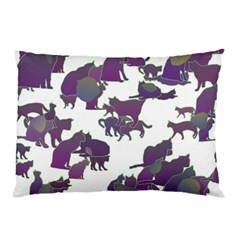 Many Cats Silhouettes Texture Pillow Case (two Sides) by Amaryn4rt
