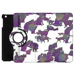 Many Cats Silhouettes Texture Apple Ipad Mini Flip 360 Case by Amaryn4rt