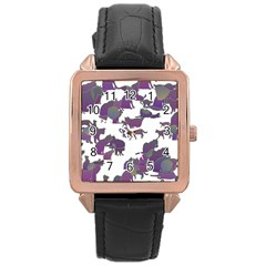 Many Cats Silhouettes Texture Rose Gold Leather Watch  by Amaryn4rt