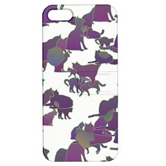 Many Cats Silhouettes Texture Apple Iphone 5 Hardshell Case With Stand by Amaryn4rt