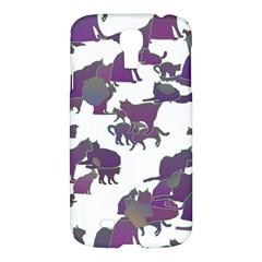 Many Cats Silhouettes Texture Samsung Galaxy S4 I9500/i9505 Hardshell Case by Amaryn4rt