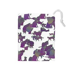 Many Cats Silhouettes Texture Drawstring Pouches (medium)  by Amaryn4rt