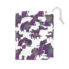 Many Cats Silhouettes Texture Drawstring Pouches (large)  by Amaryn4rt