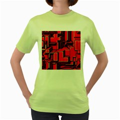 Background With Red Texture Blocks Women s Green T Shirt by Amaryn4rt