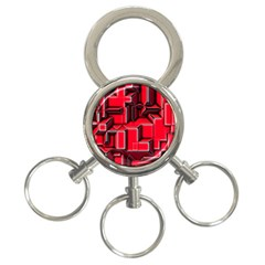 Background With Red Texture Blocks 3 Ring Key Chains by Amaryn4rt