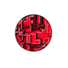 Background With Red Texture Blocks Hat Clip Ball Marker (4 Pack) by Amaryn4rt