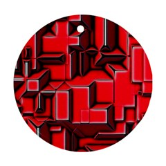 Background With Red Texture Blocks Round Ornament (two Sides)