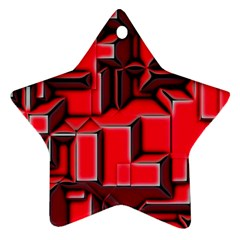 Background With Red Texture Blocks Star Ornament (two Sides) by Amaryn4rt