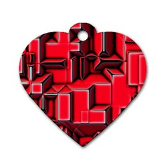Background With Red Texture Blocks Dog Tag Heart (one Side) by Amaryn4rt