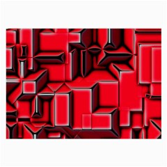 Background With Red Texture Blocks Large Glasses Cloth (2 Side) by Amaryn4rt