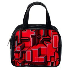 Background With Red Texture Blocks Classic Handbags (one Side) by Amaryn4rt