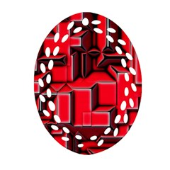 Background With Red Texture Blocks Ornament (oval Filigree) by Amaryn4rt