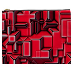Background With Red Texture Blocks Cosmetic Bag (xxxl)  by Amaryn4rt