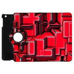 Background With Red Texture Blocks Apple Ipad Mini Flip 360 Case by Amaryn4rt