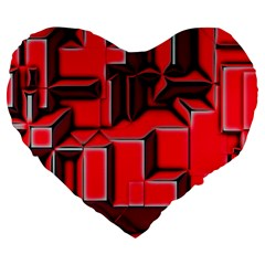 Background With Red Texture Blocks Large 19  Premium Heart Shape Cushions by Amaryn4rt