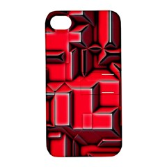 Background With Red Texture Blocks Apple Iphone 4/4s Hardshell Case With Stand by Amaryn4rt