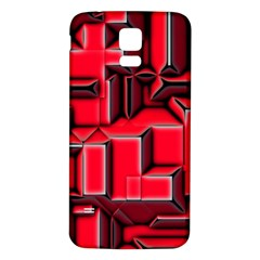 Background With Red Texture Blocks Samsung Galaxy S5 Back Case (white) by Amaryn4rt