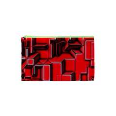 Background With Red Texture Blocks Cosmetic Bag (xs) by Amaryn4rt