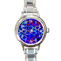 Blue Bee Hive Pattern Round Italian Charm Watch by Amaryn4rt