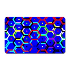 Blue Bee Hive Pattern Magnet (rectangular) by Amaryn4rt