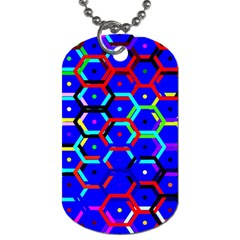 Blue Bee Hive Pattern Dog Tag (one Side) by Amaryn4rt