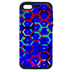 Blue Bee Hive Pattern Apple Iphone 5 Hardshell Case (pc+silicone) by Amaryn4rt