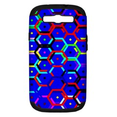 Blue Bee Hive Pattern Samsung Galaxy S Iii Hardshell Case (pc+silicone) by Amaryn4rt
