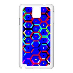 Blue Bee Hive Pattern Samsung Galaxy Note 3 N9005 Case (white) by Amaryn4rt