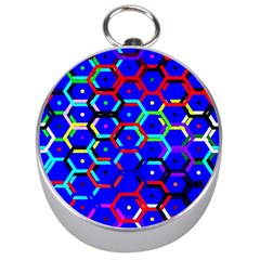 Blue Bee Hive Pattern Silver Compasses by Amaryn4rt
