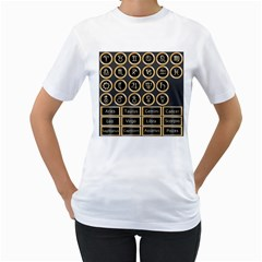 Black And Gold Buttons And Bars Depicting The Signs Of The Astrology Symbols Women s T Shirt (white) (two Sided) by Amaryn4rt