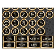 Black And Gold Buttons And Bars Depicting The Signs Of The Astrology Symbols Rectangular Jigsaw Puzzl by Amaryn4rt