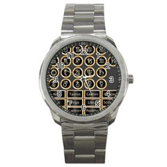 Black And Gold Buttons And Bars Depicting The Signs Of The Astrology Symbols Sport Metal Watch by Amaryn4rt