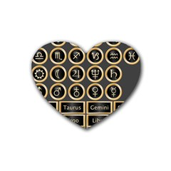 Black And Gold Buttons And Bars Depicting The Signs Of The Astrology Symbols Rubber Coaster (heart)  by Amaryn4rt