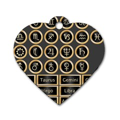 Black And Gold Buttons And Bars Depicting The Signs Of The Astrology Symbols Dog Tag Heart (one Side) by Amaryn4rt