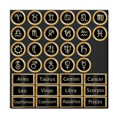 Black And Gold Buttons And Bars Depicting The Signs Of The Astrology Symbols Face Towel by Amaryn4rt