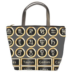 Black And Gold Buttons And Bars Depicting The Signs Of The Astrology Symbols Bucket Bags by Amaryn4rt