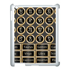 Black And Gold Buttons And Bars Depicting The Signs Of The Astrology Symbols Apple Ipad 3/4 Case (white) by Amaryn4rt